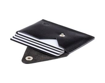 Black Business Card Holder - A-SLIM - Sapphire Black Leather - Tsuki - Card Case - Minimalist Wallet - Business Cards - Front Pocket Wallet