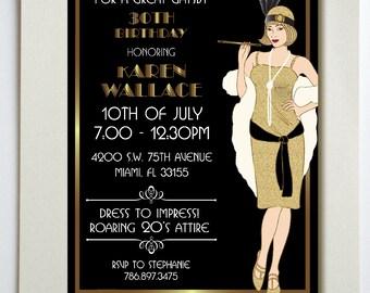 Great Gatsby Birthday Party Invitation  // PRINTED