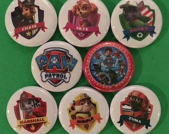 """8 Brand New 1"""" """"Paw Patrol"""" Buttons Set"""