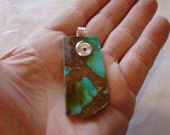 Polished Kingman TURQUOISE free-form pendant lovely !!