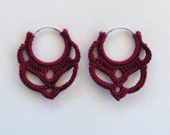 Silver Plated Red Crochet Hoop Earrings 25mm