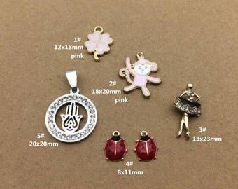 10PCS, Enamel Charm, Monkey Charm, Beetle Charm, White Hand Pendant, Jewelry Charm, Craft Supplies, Gold Tone