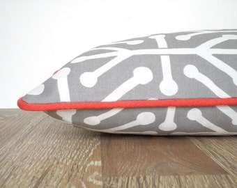 Geometric outdoor pillow cover gray and coral decor, grey lumbar pillow case for front porch decor