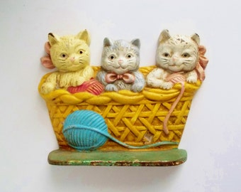 Vintage Door Stop Cast Iron Three Kittens Multicolor Collectible Taiwan