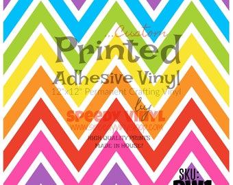 "RW1:  Rainbow (chevron) Printed Adhesive 12""x12"" Vinyl RW1 Craft Vinyl for Cricut Cameo Silhouette 651 Equivalent"