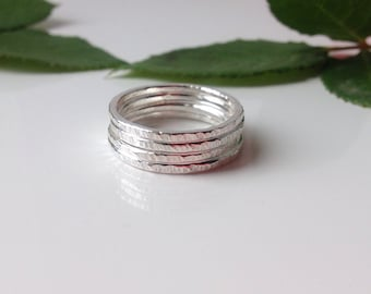 Silver stacking rings, set of 4 stacking rings, textured stacking rings, simple silver band.