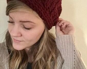 Ribbed Maroon Crochet Beanie