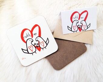 Cwtch me cute  dinosaur  coaster / mini card gift. Welsh cwtch UK  gift.