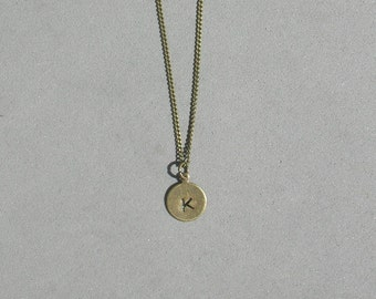 Hand Stamped Antique Brass Initial Necklace