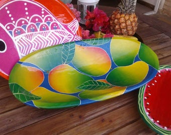 Hand painted wood tray, large