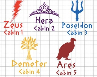 Camp Half Blood Parental Cabin Decal - All 20 Cabins Available - Car Sticker - Inspired by Percy Jackson and the Olympians Custom Vinyl