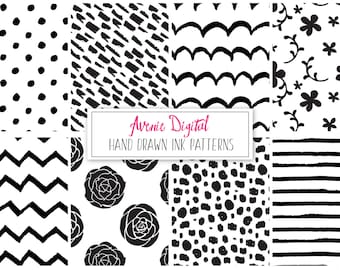 Hand Drawn Ink Digital Paper and Vecors. Scrapbook Backgrounds. Black and White patterns Commercial Use. Flower polka dots stripes