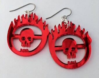 Mad Max Fury Road Mirrored Red Skull Earrings, Apocalypse GeekStar Jewelry