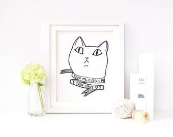 Wall Art || Cat Lady || Cat Gift || Cat Lover || Cat Print || Funny Wall Art || Calligraphy Print || Cat Art || Cat Illustration