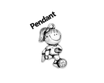 Happy Soccer Girl (Nickel Plated Pewter) Original Pendant Charm by Clayvision (Quantity Discounts) Cute Kawaii Team Gift Coach Ball Football