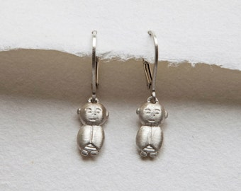 Silver Jizo Earrings, Silver Jizo Jewelry, Silver Buddha Jewelry, Buddhist Jewelry, Meditation Jewelry, Spiritual Earrings, Buddha Accessory