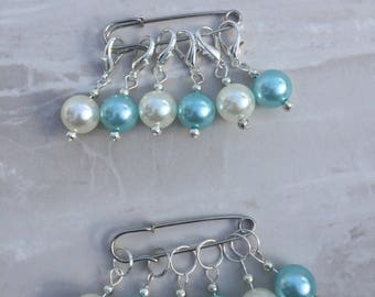 Blue Pearl Bead Stitch Markers, stitch markers, knitting supplies, progress markers, craft supplies, crochet markers