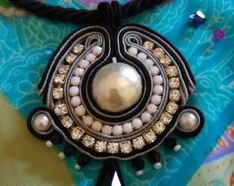 Black Soutache necklace with pendant
