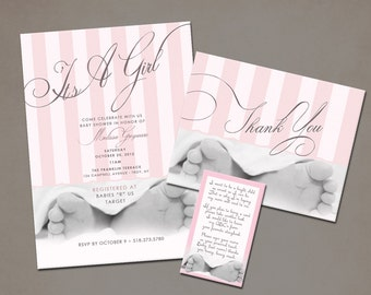 Baby Feet Baby Shower Invitation - Choice of Pink or Blue