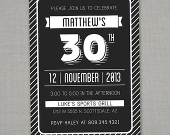 Modern Adult Birthday Invitation -- 30, 40, 50, 60