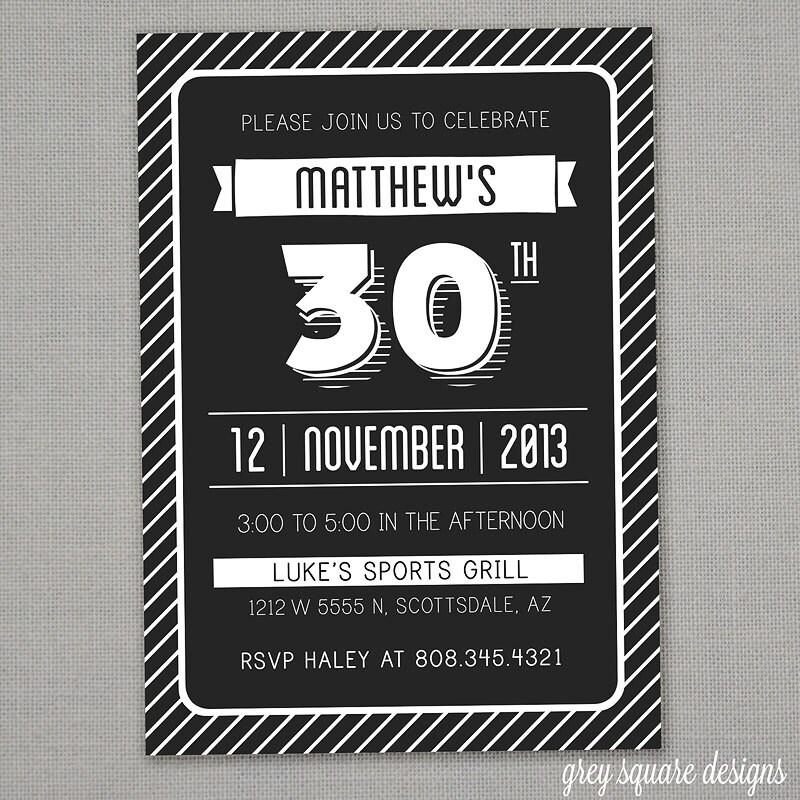 Modern Adult Birthday Invitation 30 40 50 60