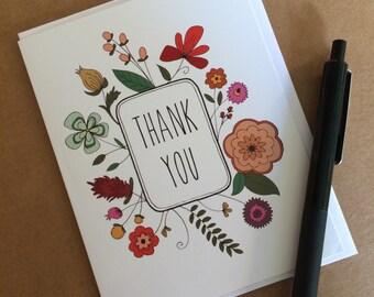 Flower Frame Thank You Greeting Card