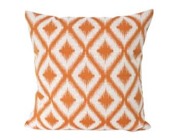 Robert Allen Tangerine Ikat Fret Pillow Cover