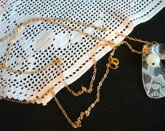 One of a Kind Vintage Lace and Chandelier Crystal Necklace, Long Gold Chain Pendant Necklace, Turquoise and White Bead Necklace, MarjorieMae