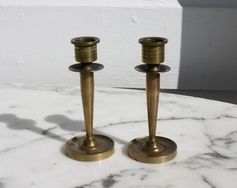 Pair of Petite Solid Brass Art Deco Candleholders