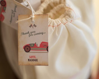 Vintage race car party theme thank you notes