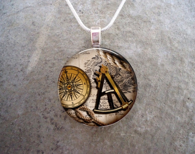 Pirate 13 - Sextant and Compass Jewelry - Glass Pendant Necklace - Vintage Theme