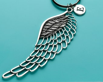 Huge Angel Wing Keychain, Angel Wing Key Ring, Heaven Charm, Initial Keychain, Personalized Keychain, Custom Keychain, Charm Keychain, H2