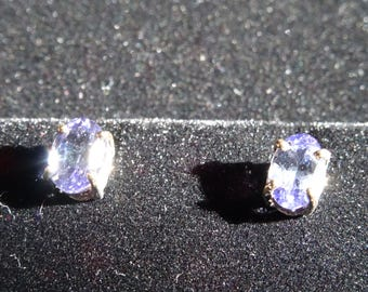 Top Grade 7x5mm Tanzanite Sterling Silver Earrings