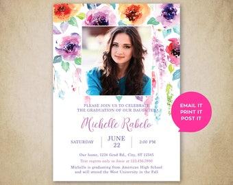 Elegant Watercolor Floral Graduation Invitation (Digital)