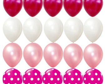 20X Latex balloons Pink White Polka dots Girls Happy birthday Party Supplies baby shower Wedding Decorations