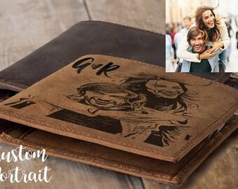Personalized gift for mens gift for Custom Portrait boyfriend gift husband gift for him mens wallets for men personalized leather wallet