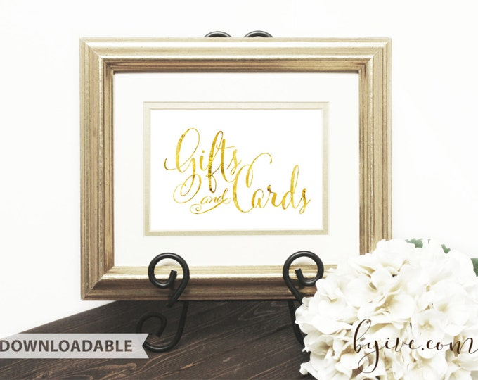 Gift & Card Wedding Sign, Gold Script Sign, Downloadable, Print it yourself.