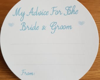 Wedding Advice Coasters Bride and Groom Advice - Aqua text  on White Card KP001 AQ/WT