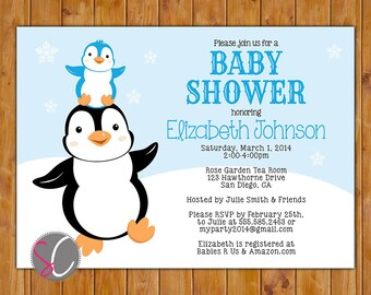 Penguin Baby Shower Invite Stacked Penguins Winter It's a Boy Blue Baby Invitation 5x7 Digital Invite (354)
