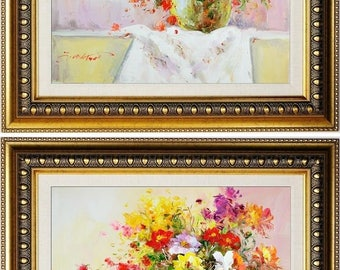 Set of 2 E.Colton Signed Impressionist Still Life Painting Framed Oil On Canvas
