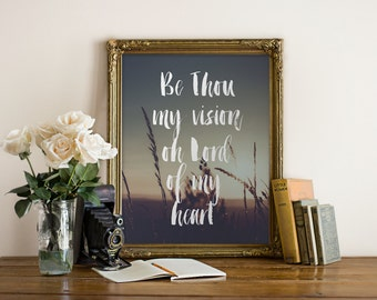 Be Thou My Vision Christian Hymn Quote printable wall art // Christian, Bible, wall decor// Peachpod Paperie