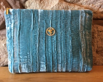 Duck Egg Blue Crushed Velvet with Vintage Cherub Ultra Glamorous Wash Bag