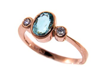 Aquamarine diamond ring, aquamarine ring, aquamarine rose gold ring, handmade aquamarine ring