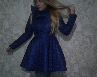 Blue Sapphire Quilted coat jacket Odri Inspired Circle Skirt
