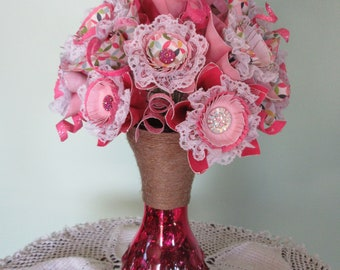 Origami / Paper Flower Bouquet/ Paper Flower Arrangement/ Pink Paper Flowers/ Pink / Hot Pink Glass Vase/ Jute Twine Wrapped