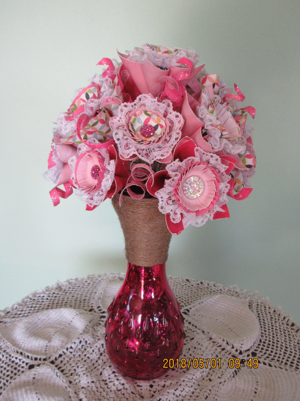 Origami Paper Flower Bouquet Paper Flower Arrangement Pink