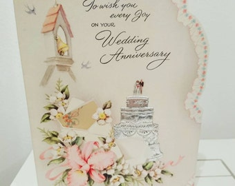 Vintage c 1950s 50s wedding anniversary card or silver wedding anniversary card / 25th wedding anniversary - send  scrapbooking papercrafts