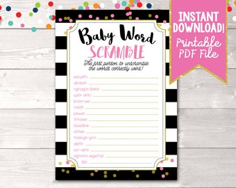 Printable Baby Shower Game Baby Word Scramble for Girls Black Stripes and Pink & Gold Polka Dots
