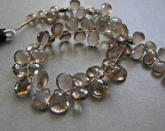AAA+ Smoky Quartz Faceted Pear Briolettes HALF Strand