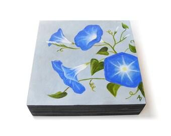 Morning Glory flower painting - original botanical art - hand painted flowers - blue floral painting - morning glories - garden art decor
